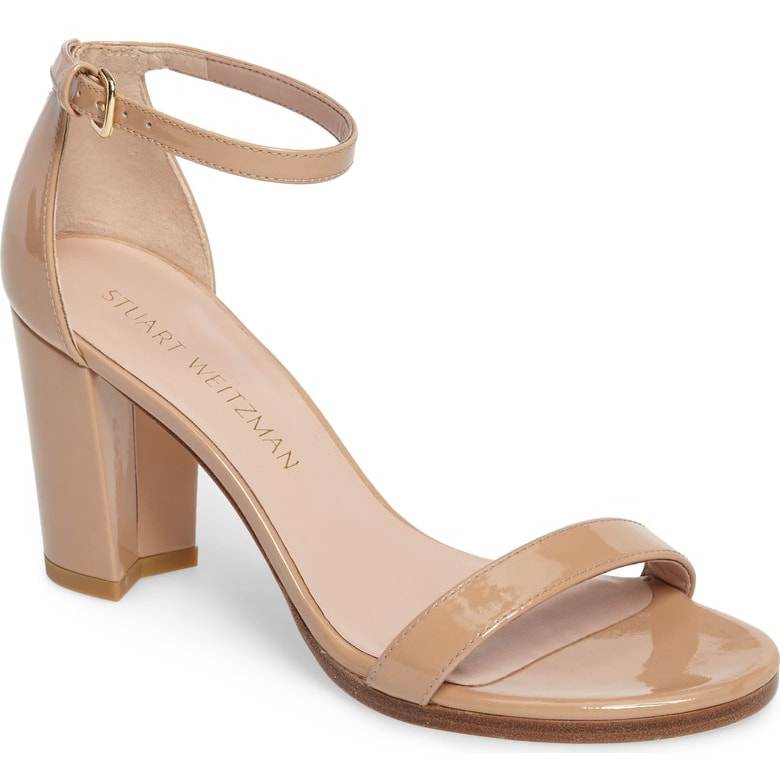 Stuart Weitzman NearlyNude Block Heel Sandals in Adobe Patent Leather