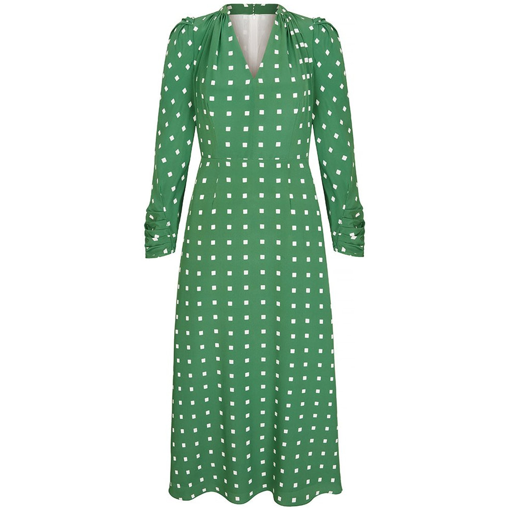 Suzannah 'Valerie' green polka squares dress