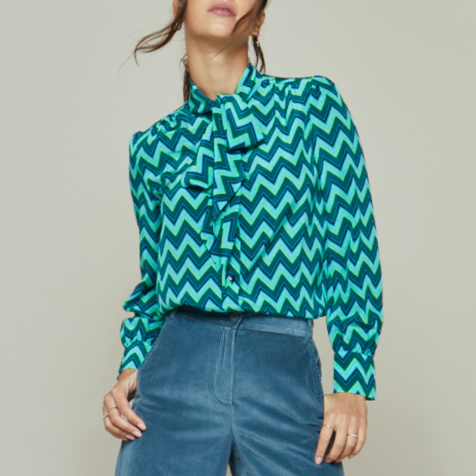 Tabitha Webb 'Pansy' Pussybow Blouse in Green Chevron