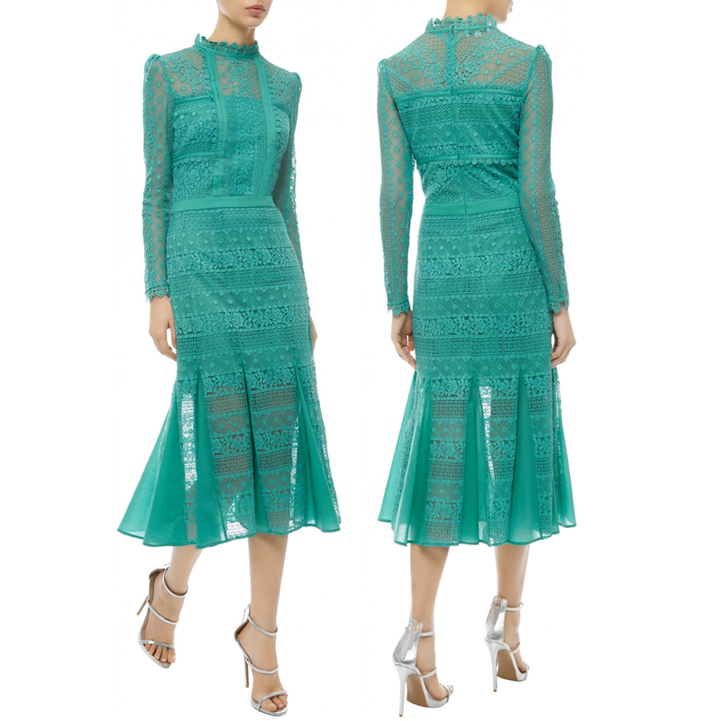 Temperley London Desdemona Jade Green Lace Dress