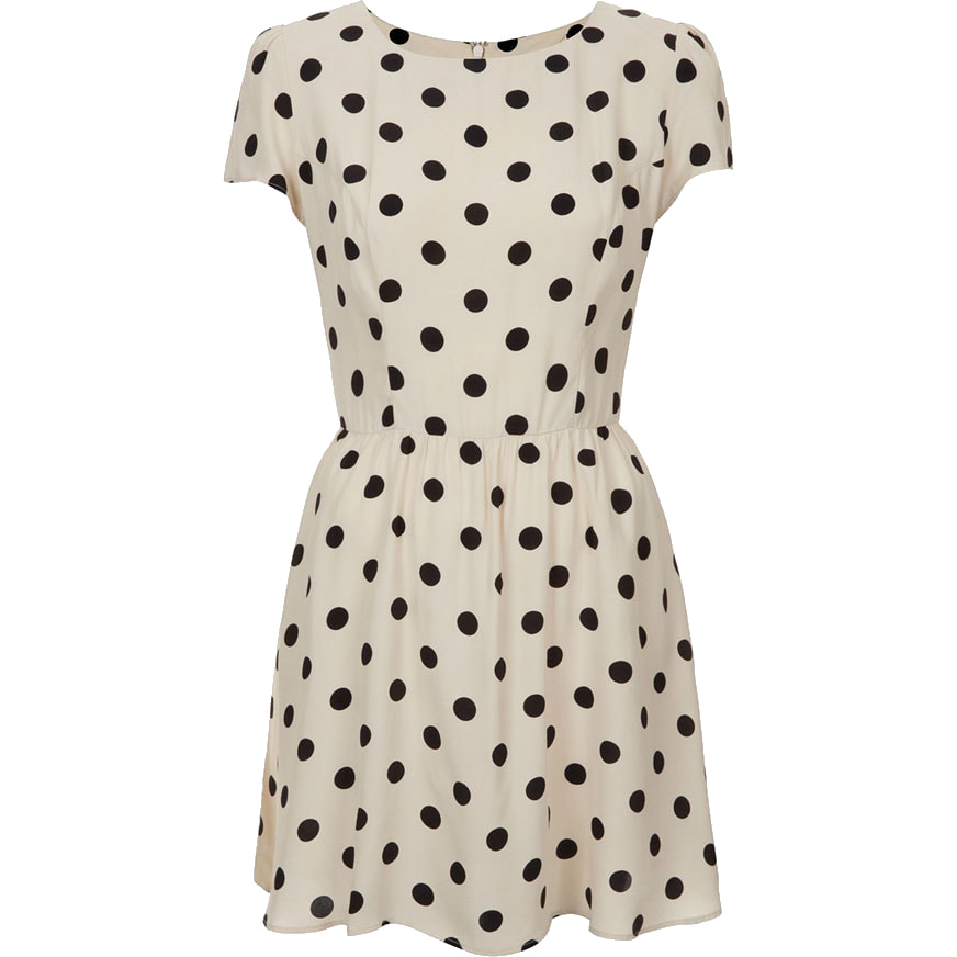 Topshop Cream Polka Dot Skater Dress