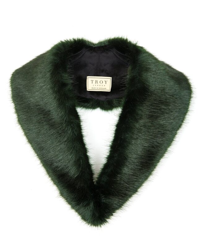 Troy London forest green faux fur lapel collar