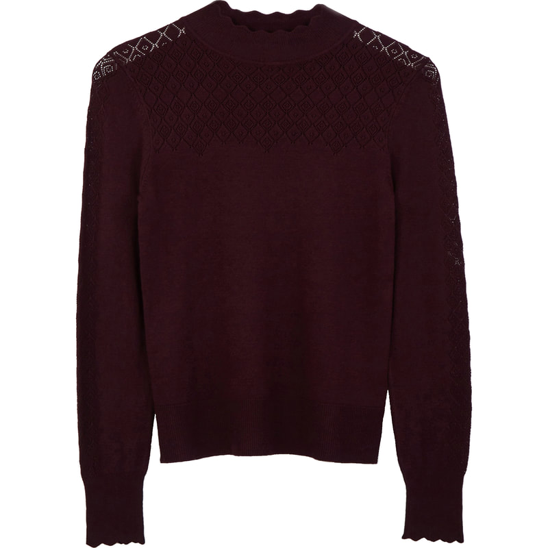 Warehouse Berry Pointelle High Neck Jumper