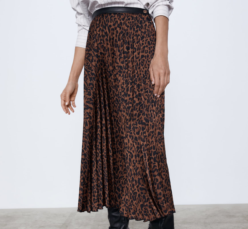 Zara animal printed pleated midi skirt