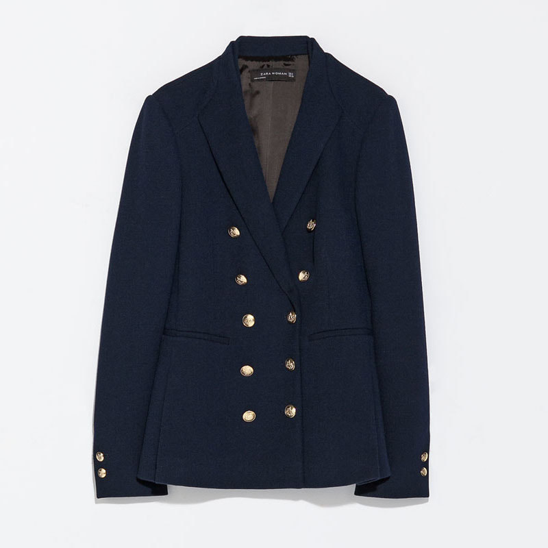 Zara Navy Double Breasted Jacket