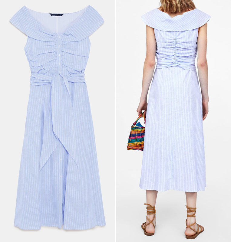 ZARA STRIPED OFF-THE-SHOULDER DRESS