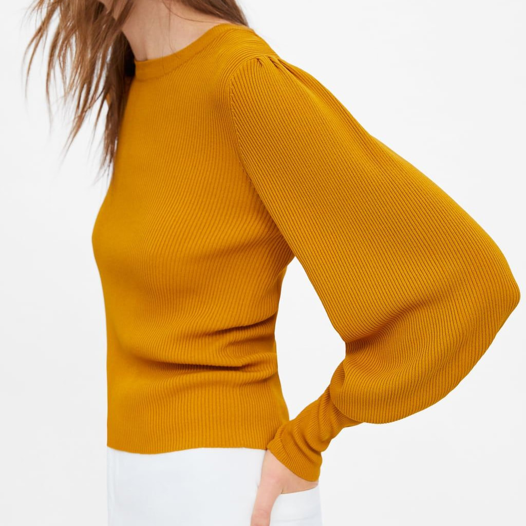 Zara Mustard Puff Sleeved Sweater