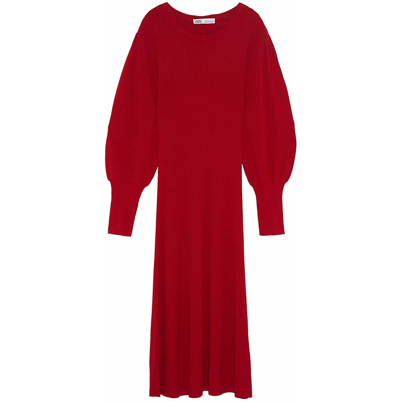 Zara Red Puff Sleeve Dress