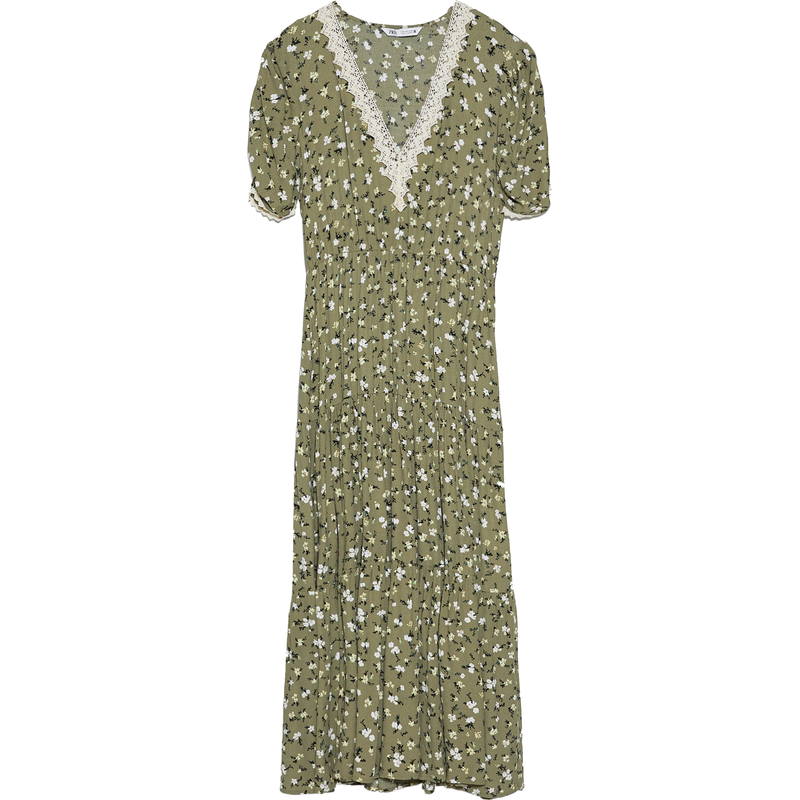 Zara Sage Green Floral Printed Dress