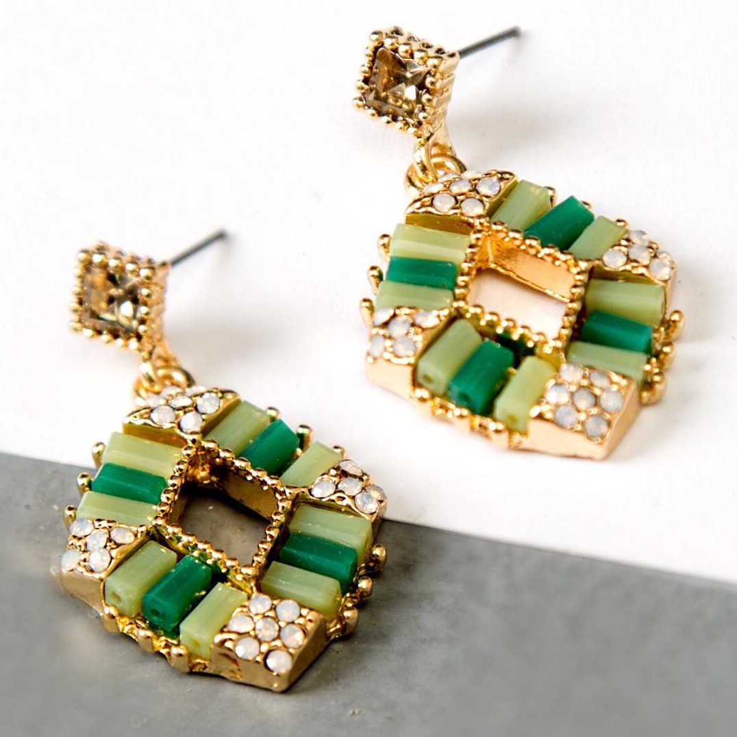 Zeen Dazzling Ceramic Drop Earrings